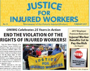 Justice for INjured Workers Newspaper cover Feb 2017