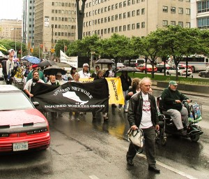 ONIWG rally on INjured Workers Day 2001
