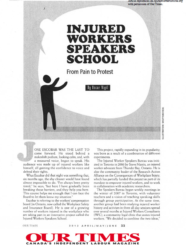 cover page of article on Injured Workers Speakers School from Our Times (May 2012) linked to full text in pdf