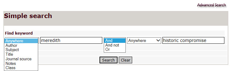Library catalogue basic search