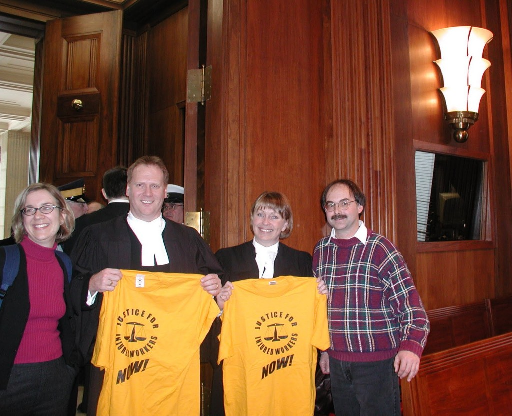 Jo-Ann Seamon (IAVGO), lawyers Ken LeBlanc and Anne Clarke (Nova Scotia Office of the Worker Adviser), John McKinnon (IWC)