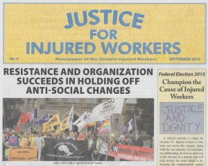 cover page of Justice For Injured Workers Sep 2015