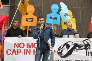 speakers address rally outside Ministry of Labour