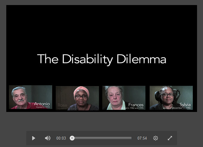 Occupational Disability Response Team video of four injured workers speaking on the impact on their lives. Runs 7.54 minutes