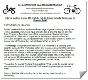 Press release for Justice for Injured Workers Ride 2016