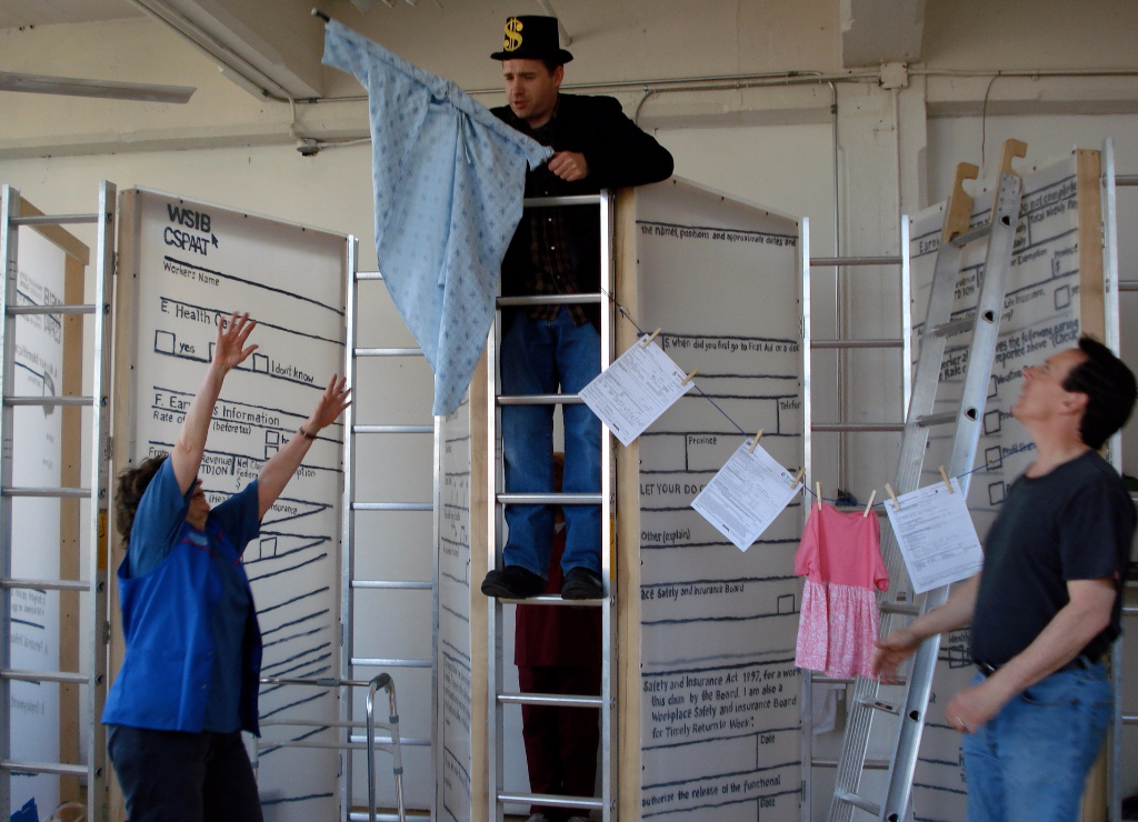 Workers hanging up the paperwork