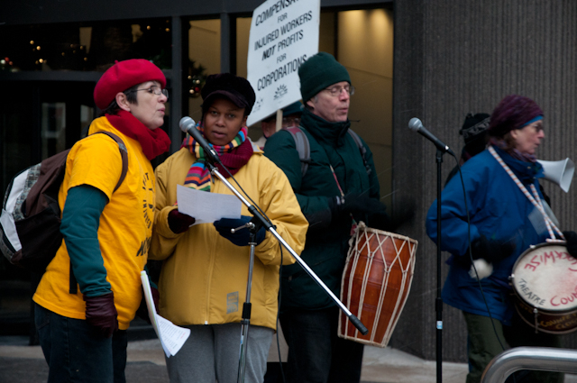 Justice singers outside Ministry of Labour December 2011 demo