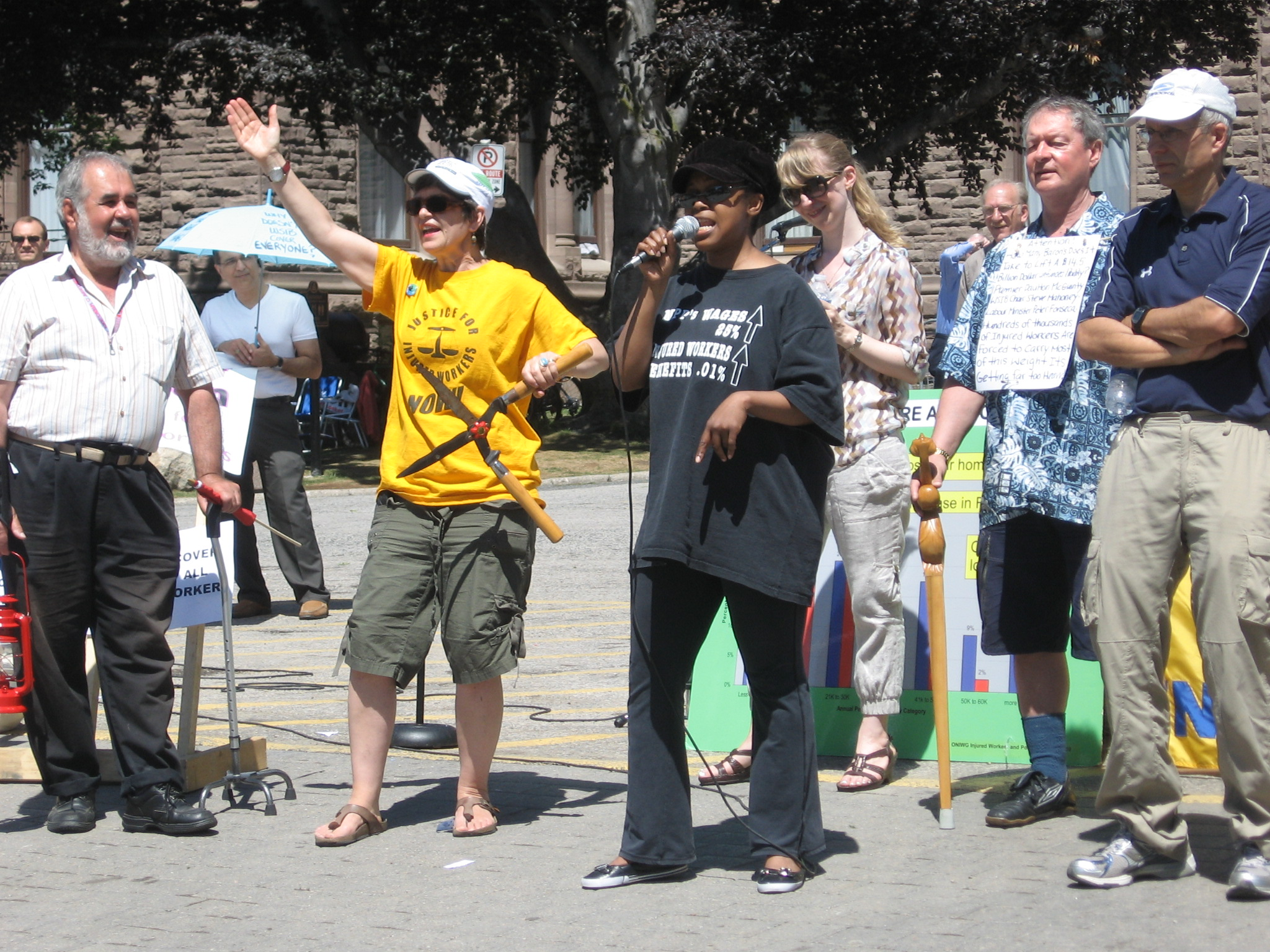 Justice Singers outside Legislative Assembly on Injured Workers Day June 1 2010
