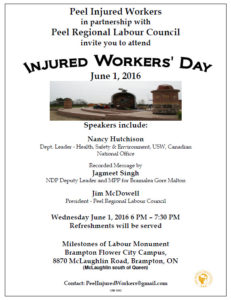 flyer for Peel Injured Workers Day event 2016