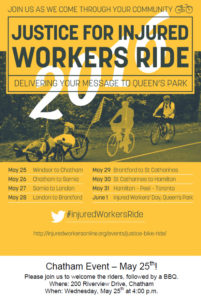 Poster - Justice for Injured Workers Ride - Chatham May 25