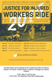 Injured Workers Ride poster Mississauga event
