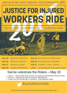 Sarnia event - Justice for Injured Workers Ride