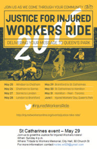 Poster Justice for Injured Workers Ride - St Catharines event