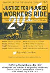 Poster - Justice for Injured Workers Ride Wallaceburg event