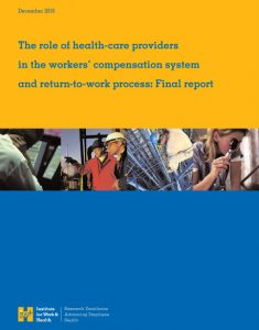 "click on cover of IWH report ""The role of healthcare providers in workers compensation and return to work"""