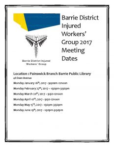 2017 Barrie District Injured Workers Group meetings