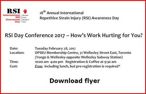 Flyer for RSI International Awareness Day 2017 Toronto