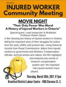 Brantford injured worker movie night poster