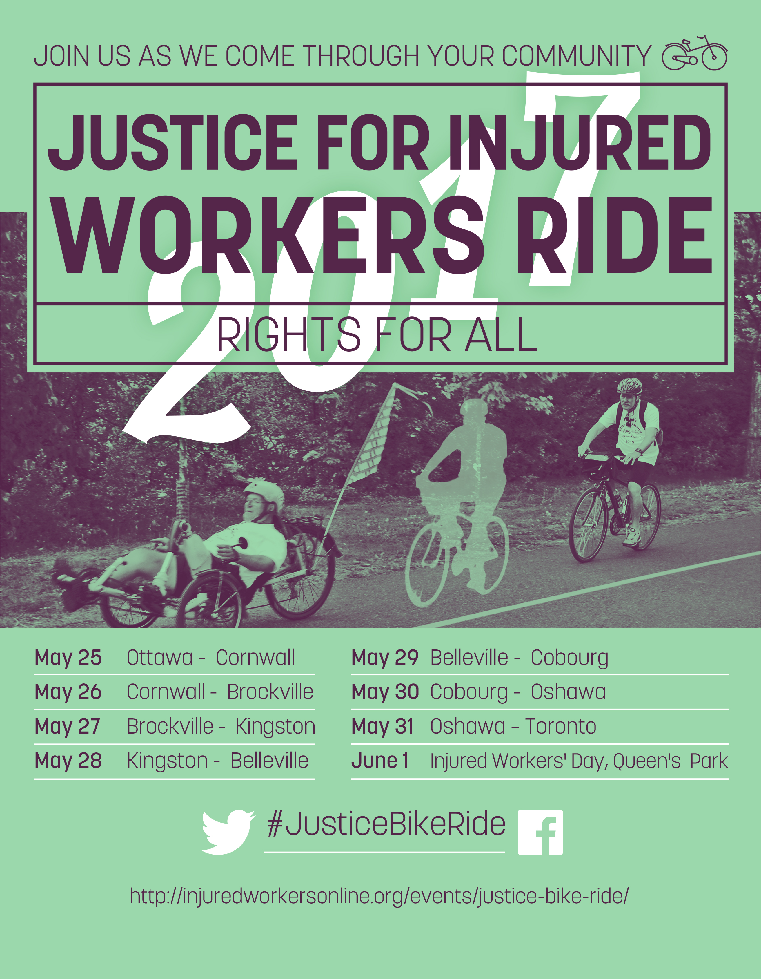 Justice Bike Ride 2017 poster with itinerary
