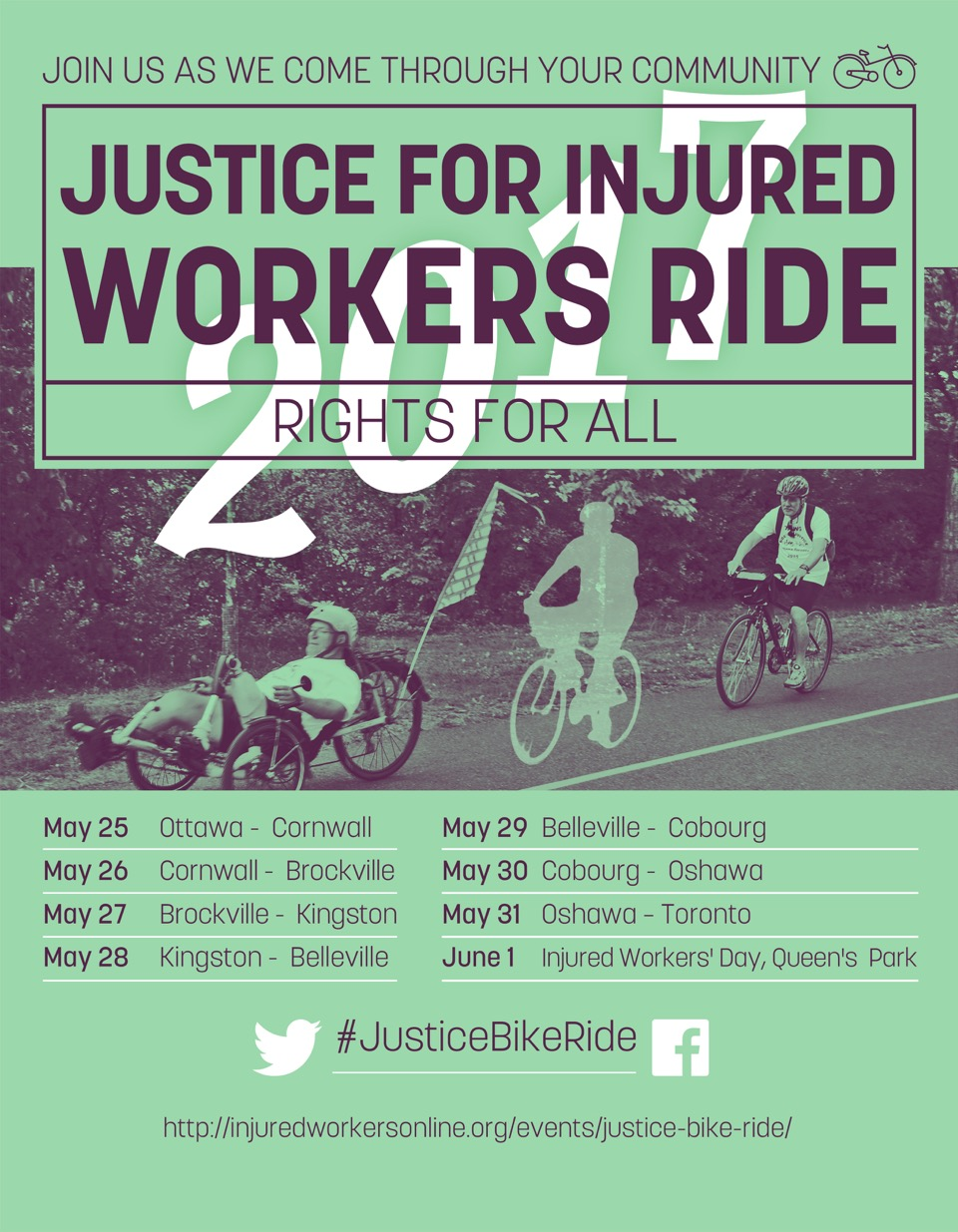 Justice for Injured Workers Bike Ride poster with itinerary