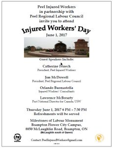 Peel Injured Workers Day 2017 flyer