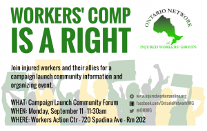 Workers Comp Is a Right Campaign launch flyer