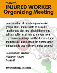 Toronto WCIAR Campaign meeting flyer