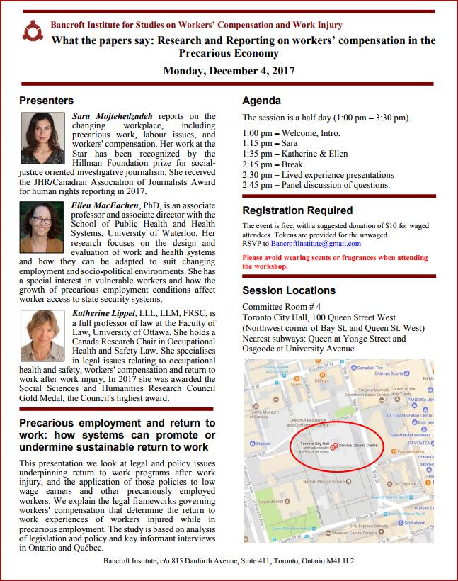 Details of December 2017 Bancroft workshop