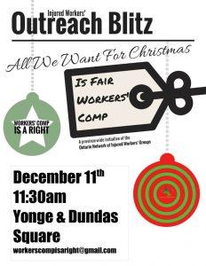 Flyer for December 11 demo at Yonge-Dundas Square at 11:30