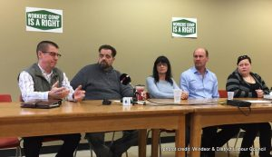Windosr injured workers & union advocates at press conference