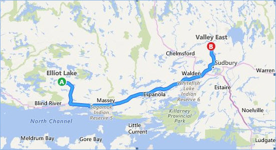 Map of Bike Ride route from Elliot Lake to Valley East