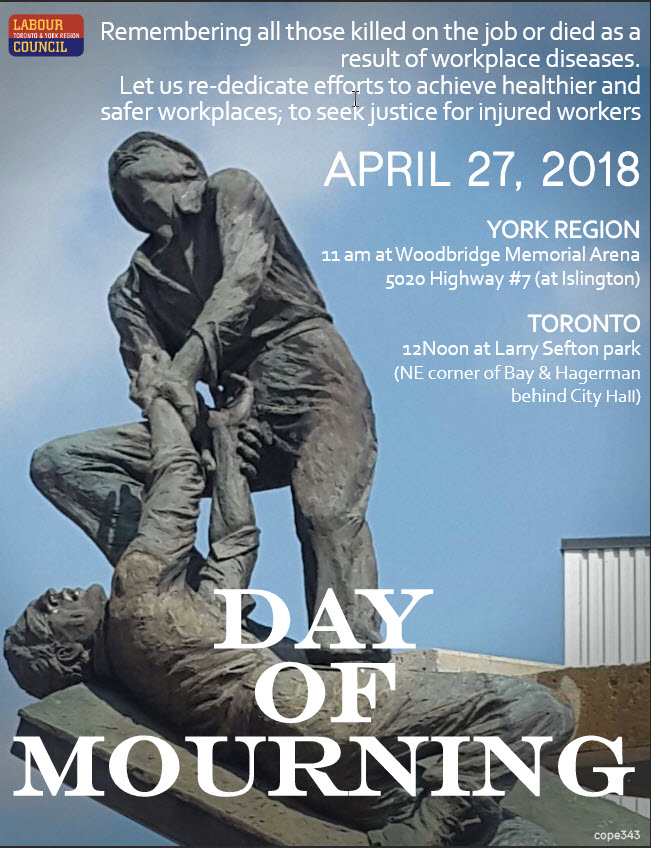 Day of Mourning 2018 events in Toronto and York