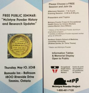Program for Timmins seminar on McIntyre Powder