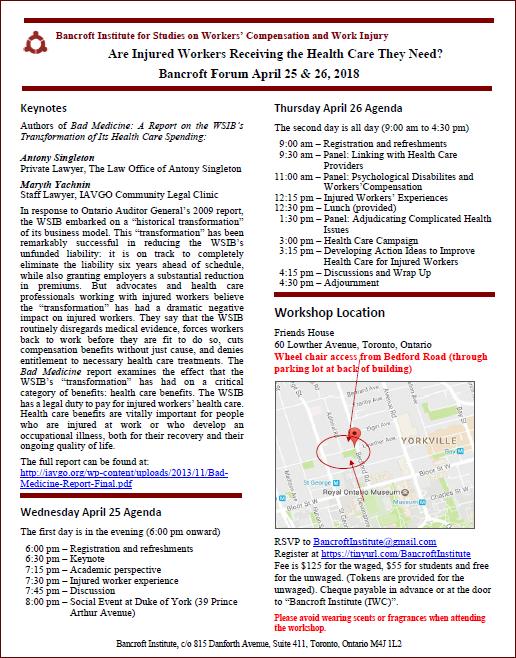 Flyer and agenda for Bancroft April 2018 workshop