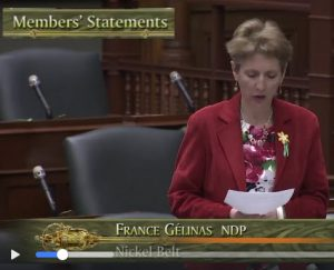 video of Frances Gelinas statement in the House on WSIB practices