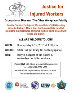 Invitation to Sudbury Justice for Injured Workers event