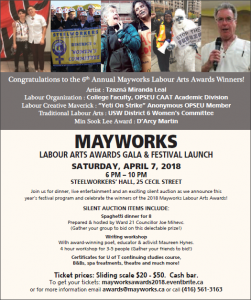 flyer for Mayworks Labour Arts Gala 2018