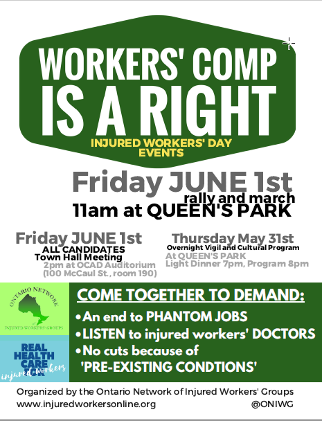 2018 June 1st Injured Workers Day flyer