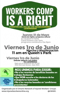 Injured Workers Day Toronto poster in Spanish