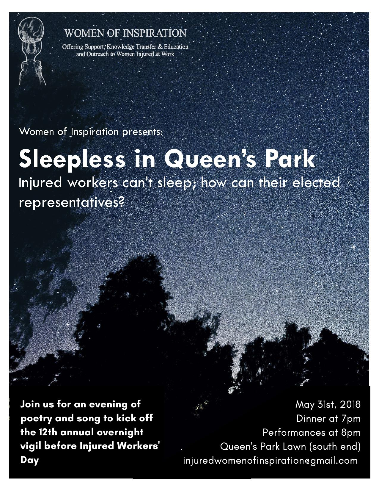May 31 2018 Women of Inspiration vigil for injured workers at Queen's Park