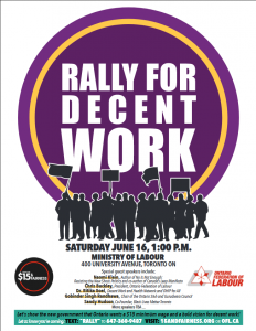 poster for $15 & Fairness rally June 16 Toronto