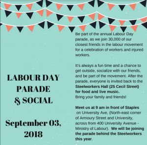 2018Toronto Labour Day Parade invitation