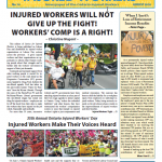 cover page of Justice for INjrued Workers newspaper August 2018