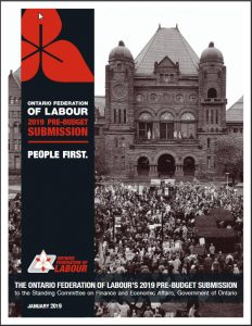 cover of OFL pre-budget submission