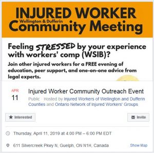 Facebook event flyer for Guelph injured worker outreach event