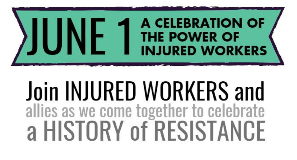 Injured Workers Day rally flyer 2019