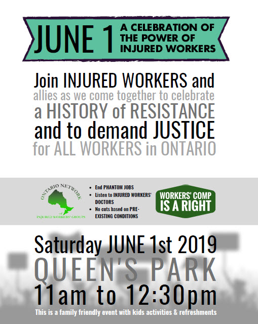 June 1st Injured Workers Day flyer