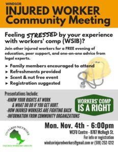 flyer for Windsor injured worker meeting Nov 4 2019