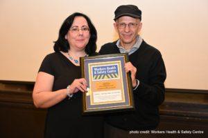 Catherine Fenech receiving award from Orlando Buonastella