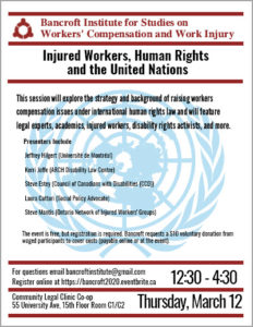 Bancroft session Mar 12 on injured workers, human rights and the UN